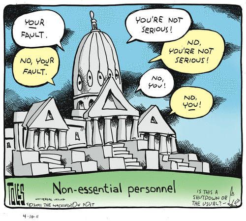 Furlough Humor | Non-Essential Personnel and Government Shutdown - Political Cartoon