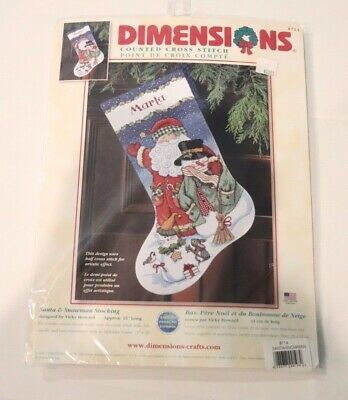 Cross Stitch Kit ~ Dimensions Santa and Snowman Christmas Stocking #8714