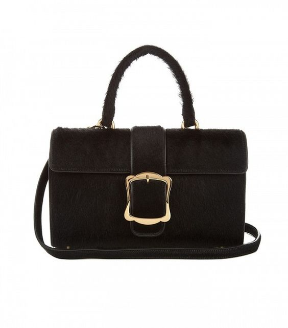 Simone Rocha Oversized-Buckle Calf-Hair Bag
