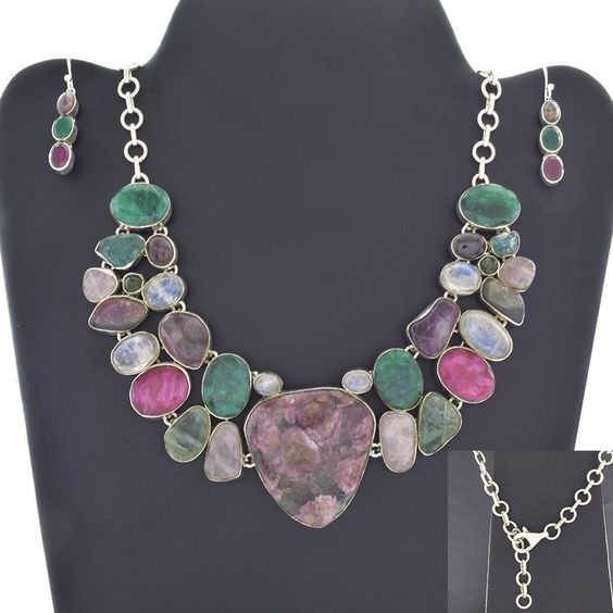 UNIQUE DESIGN 925 STERLING SILVER JEWELRY SET FOR GIRL'S IN MULTI STONES #SilvexImagesIndiaPvtLtd