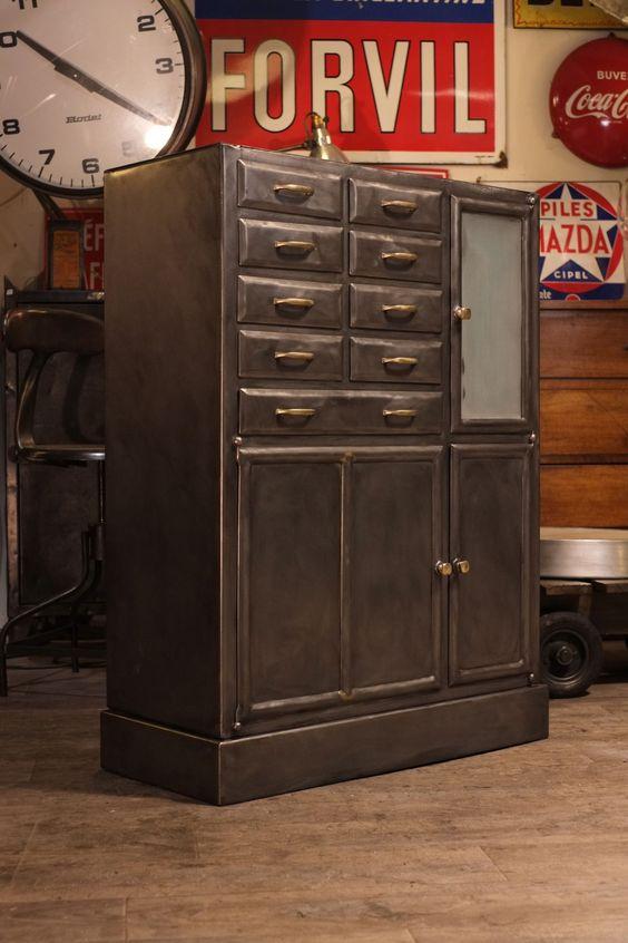 meuble de dentiste ancien en m tal deco loft organize pinterest deco and loft. Black Bedroom Furniture Sets. Home Design Ideas