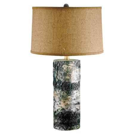 Hand-cut table lamp with an Aspen birch bark base and burlap shade.        Product: Table lamp   Construction Material: ...