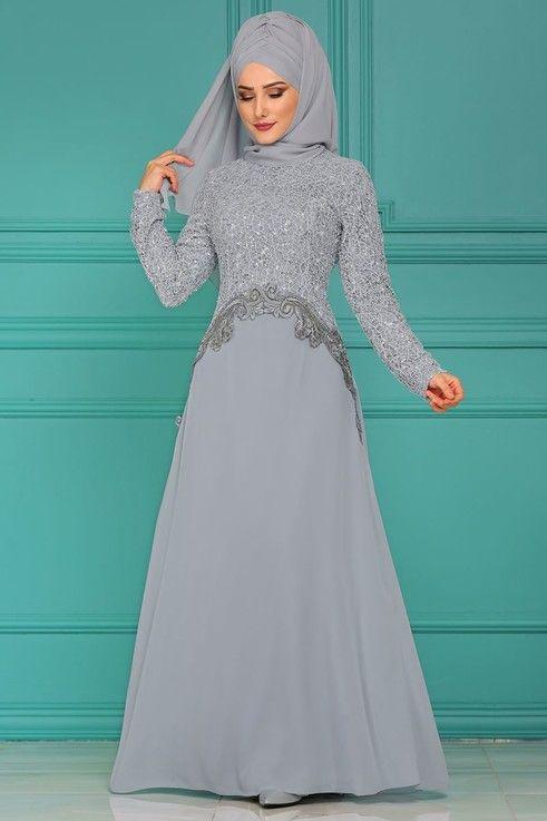 Modaselvim Abiye Beli Verev Gupurlu Sifon Abiye Alm3011 Gri Pakaian Keren Pakaian Wanita Wanita