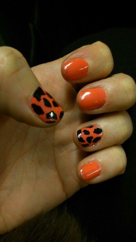 No7 Coral with BarryM nail art pen giraffe effect.