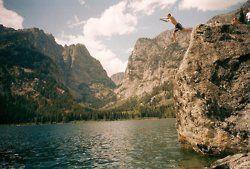 swim. mountains. cliff.