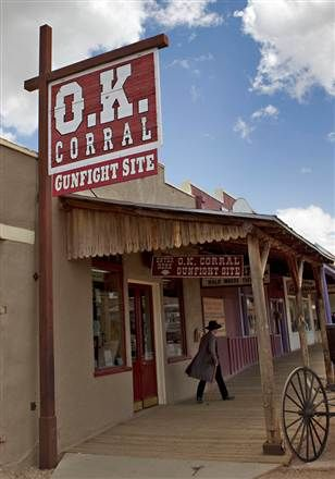 *TOMBSTONE,ARIZONA~OK CORRAL: The 1881gun battle betweenWyatt Earp,his2 brothers+ Doc.Holliday confronted a gang of drunken outlaws,sparking a 30-sec. gun battle in the streets of Tombstone that killed Frank, Tom McLaury+Bill Clanton.And inspired numerous movies about the untamed Old West.