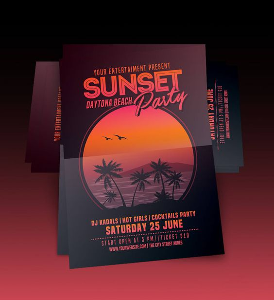 Image result for Get Sunset Beach Party Flyer Template Free!
