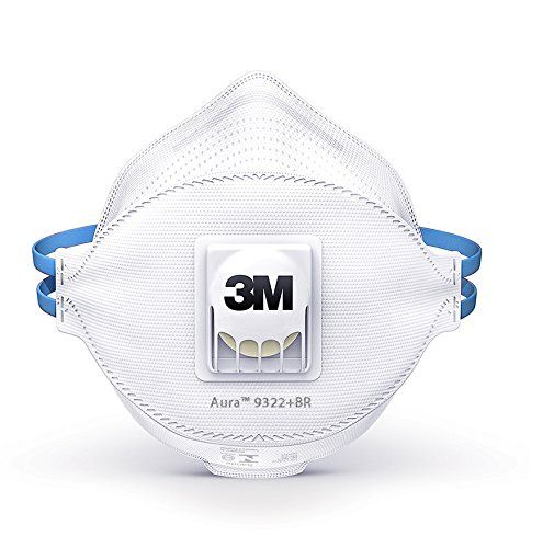 3M Aura Atemschutzmaske 9322+, FFP2 NR D, 10 Stück, mit Cool Flow Ausatemventil bis zum 10-fachen des Grenzwertes