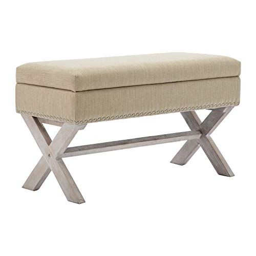 Chairus Fabric Upholstered Storage Entryway Bench 36 Inch Bedroom Bench Seat With X Shaped Wood Le In 2020 Upholstered Storage Bedroom Bench Seat Indoor Bench Seating