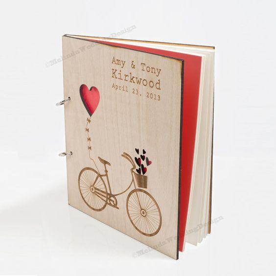 Love Bike Wedding Guest Book Custom Wood Wedding Guest Book Wedding Present Anniversary Gift Bridal Shower Book Wedding Photo Album Advice $55.00
