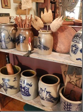 Beautiful reproductions of early American stoneware jugs and crocks