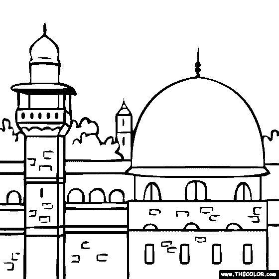 Line Art Jerusalem : Al aqsa mosque masjid coloring page isre