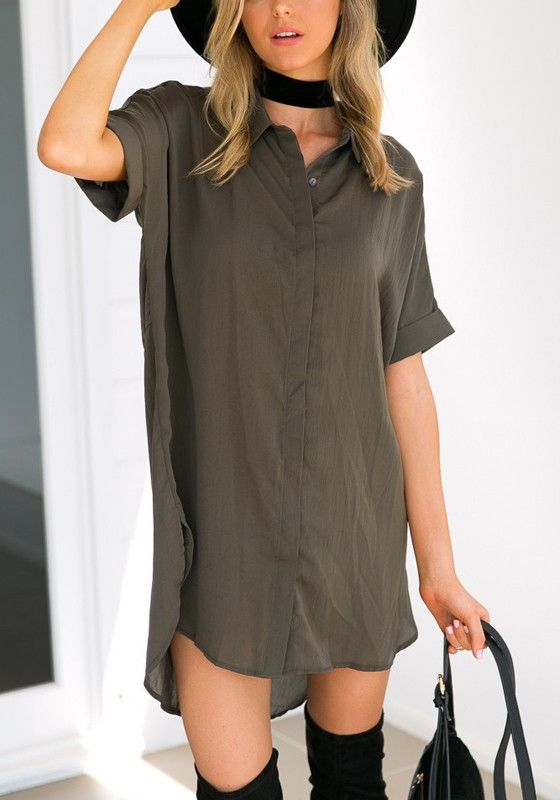 Hit the streets in this army green mini dress, simple style but chic. Get it at Fichic.com !