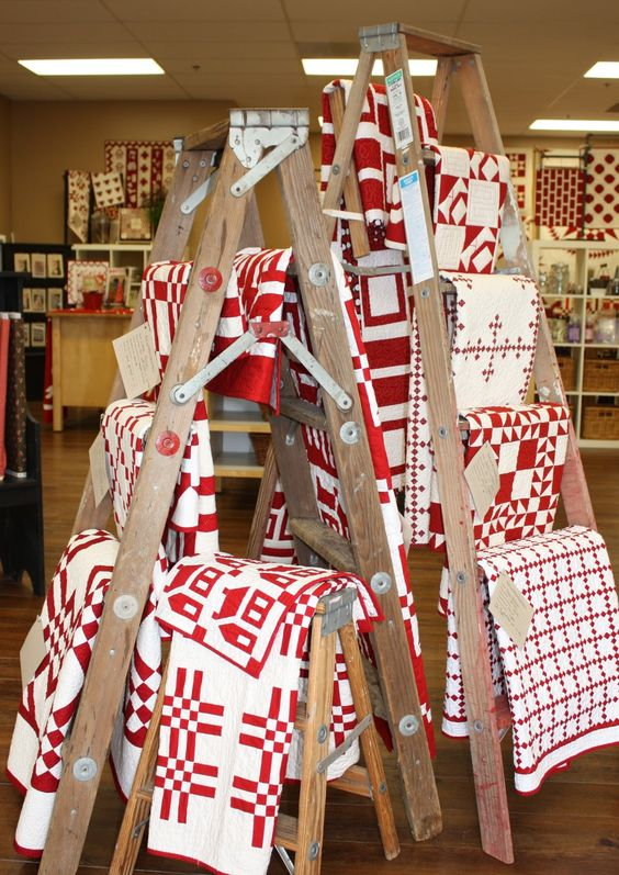 Ladder, White Quilts And Quilt On Pinterest