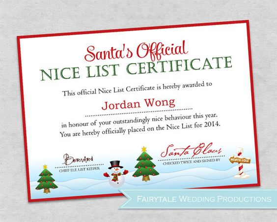 Personalized santa39s official nice list certificate christmas children stocking stuffer 5x7 for Diy certificates