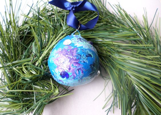 Blue Christmas Tree Ball Ornament Holiday Décor by labostyle