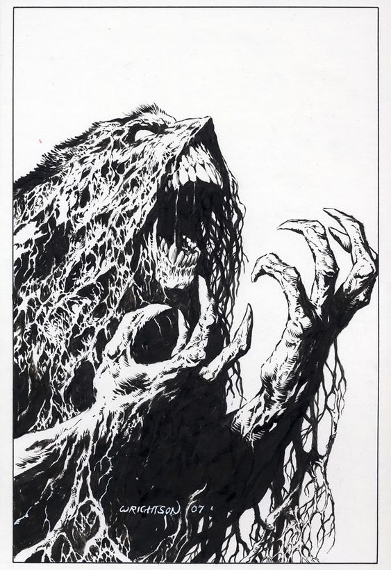 Swamp Thing Pen/Ink by Bernie Wrightson (For Sale $2499)  Comic Art