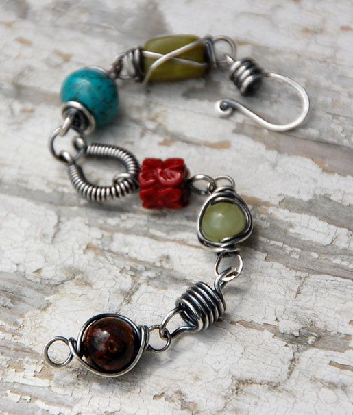 """""""Scenic Route Remix"""" sterling silver wire link and gemstone bracelet by Cindy Wimmer."""