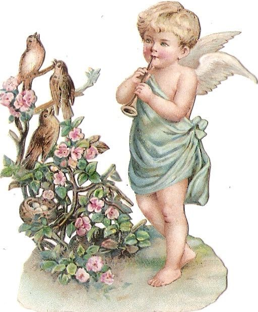 Oblaten Glanzbild scrap die cut chromo Engel angel Elfe Flöte flute Vogel Nest: