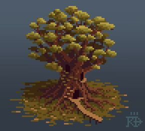 Isometric pixel art inhabited tree in the marshes by RGBfumes on DeviantArt