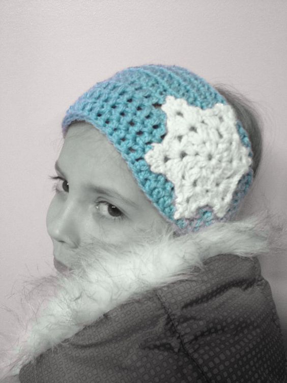 Frozen winter ear warmer snowflake head band by rosemarysbabymek