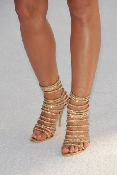 Audrina Patridge #shoes #fashion #celebrity #gold #heels