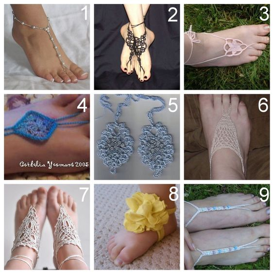 Roundup of Nine DIY Barefoot Sandals. What I found: photography of ugly and pretty feet, a huge trend in baby barefoot sandals, and tons of patterns for sale on Ravelry and Etsy. This is in response to a question asked bycolor-is-a-way-of-life:    Hi! I've been looking at some barefoot sandals that I think are crocheted and I would love to know how to make them. Could you please find me a tutorial for that?    Barefoot Beaded Sandals. Made with forgiving beading elastic (Project Wedding)…