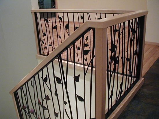 Twig railings for stairs interior design view deck railing for Indoor fence design