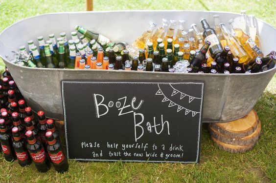 How To Have A Beautiful Budget Wedding - Fill an old tin bath full of cheap…