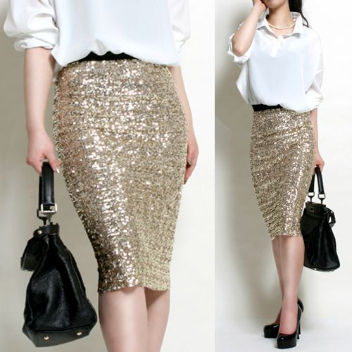 High Waist Style Bandage Sequin Skirt/Pencil Line/Gold ...