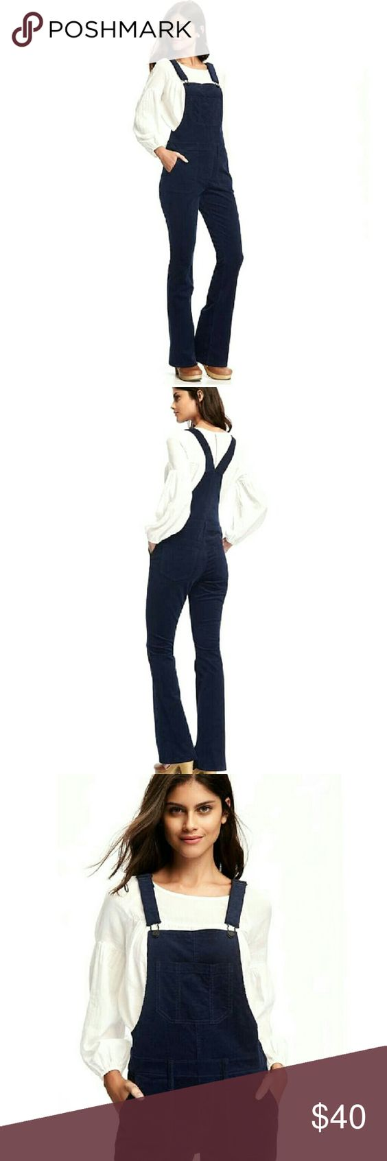 """Navy Corduroy Overalls Navy overalls with flare bell bottoms. Soft, medium weight stretch corduroy. Easy step in style with side zip closure. Adjustable shoulder straps. Patch pockets. Cotton/spandex blend.  Size: 12 Measurements:  Waist: 36""""  Hip: 42""""  Rise: 10""""   Inseam: 32""""   Length: top of bib to hem: 53""""  NO Trade / NO Paypal Pants Boot Cut & Flare"""