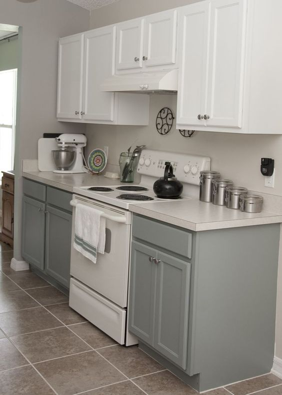 Simple Two Tone Kitchen Cabinets In Bright And Grey Colors With ...