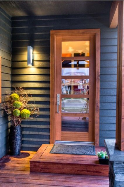 Charcoal House With Cedar Trim Gorgeous Color Combo For
