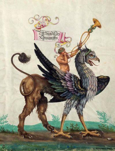 Griffin (image 8), Triunfo del Emperador Maximiliano I, Rey de Hungría, Dalmacia y Croacia, Archiduque de Austria :... de quien están descritas y colocadas en esta colección las acciones gloriosas de S.M. Imperial, durante su vida..., entre 1501 y 1700? (©Biblioteca Nacional de España):