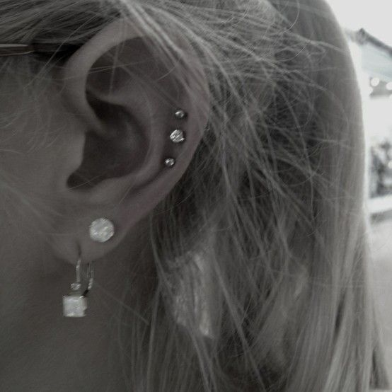 triple cartilage piercing - Google Search | Piercings and ...