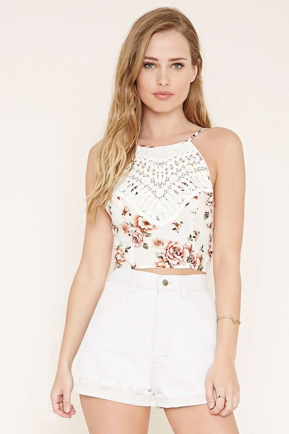 Crochet-Front Floral Cami - New Arrivals Clothing - 2000153792 - Forever 21 EU English: