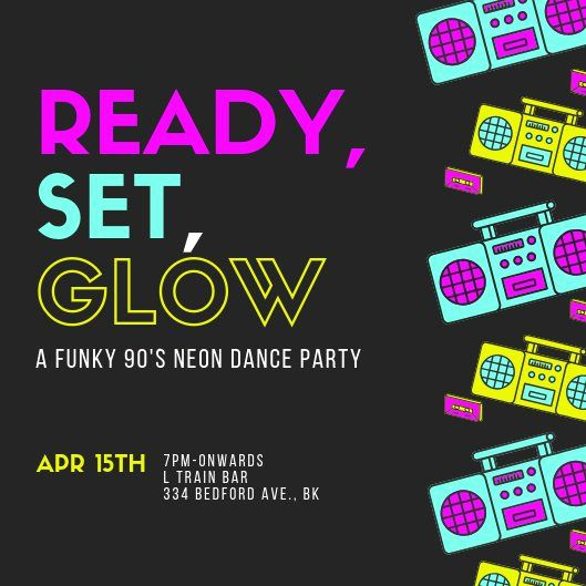 Glow Party Invitation Template In 2020 Party Invite Template Dance Party Invitations Pirate Party Invitations Template