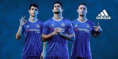 Nouveau Maillot de foot Chelsea Domicile 2016 2017 possède la couleur du un design classique en bleu traditionnelle du club et combinaison blanc.