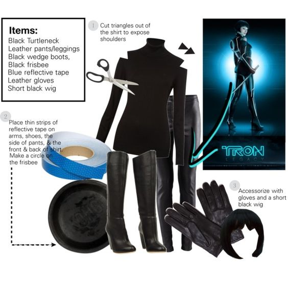 DIY Tron: Need turtle neck, gloves, boots, and reflector tape. Everything else I have. ;)