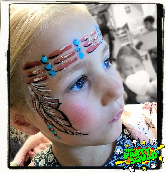 Cute Indian headband face painting painted by Ditzy Doodles http://www.thepartysquad.co.uk/ http://www.facebook.com/ThePartySquadUK/