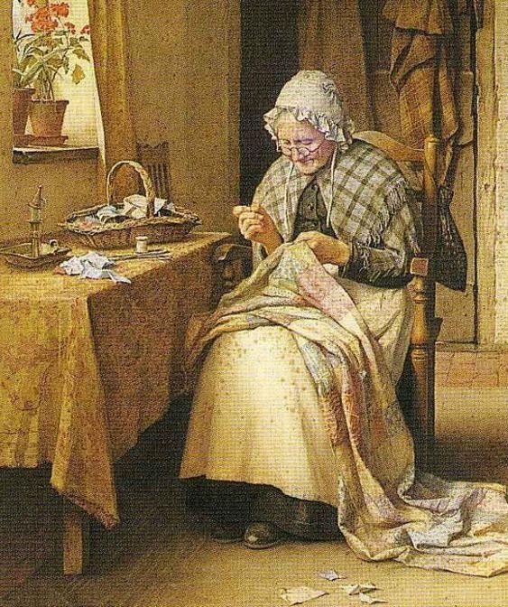 Charles Edward Wilson (British painter, 1854-1941) Making a Patchwork Quilt: