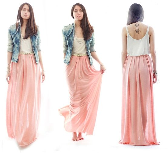 High Waisted Long Skirt Outfits