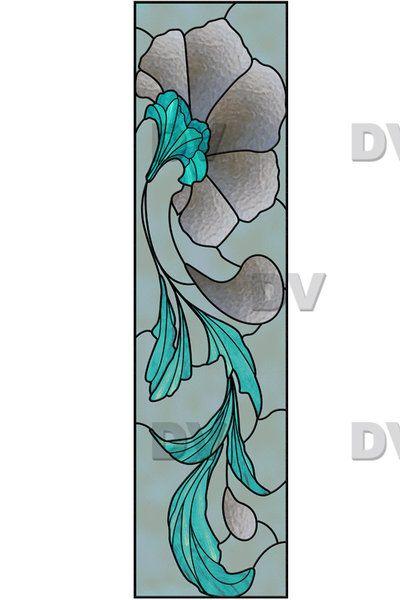 vit140 sticker effet vitrail art deco liseron deco. Black Bedroom Furniture Sets. Home Design Ideas
