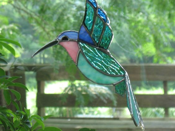 Green and blue stained glass large 3D hummingbird window
