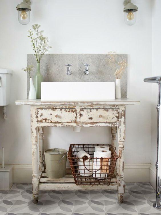 shabby chic kommode anrichte schublade waschtisch badezimmermöbel selber machen