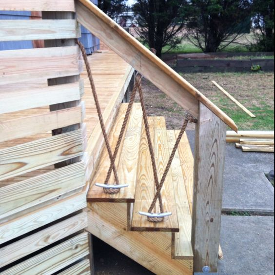 Deck railings decks and railings on pinterest for Garden decking with rope