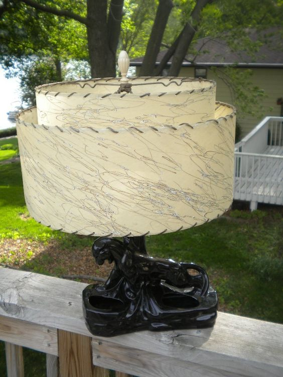 Exc Vintage 1950 S Black Panther Tv Lamp Planter Light 2