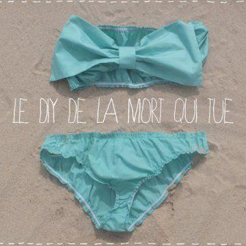 Tuto pour coudre un maillot de bain bikini en tissu bleu turquoise