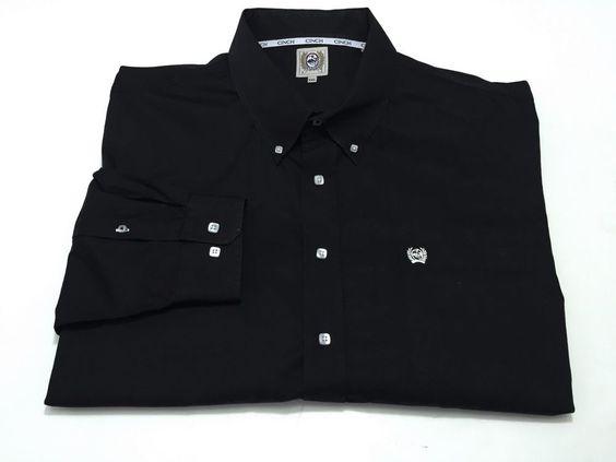 Cinch XXL Rodeo Western Men's Long Sleeve Button Front Black Shirt 2XL #Cinch #ButtonFront