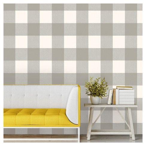 Buffalo Plaid Peel Stick Wallpaper Gray Threshold Peel And Stick Wallpaper Yellow Accent Walls Accent Wallpaper